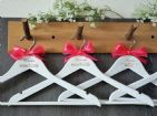 Personalised White Wooden Wedding Hangers Set of 9 with Bow - Heart